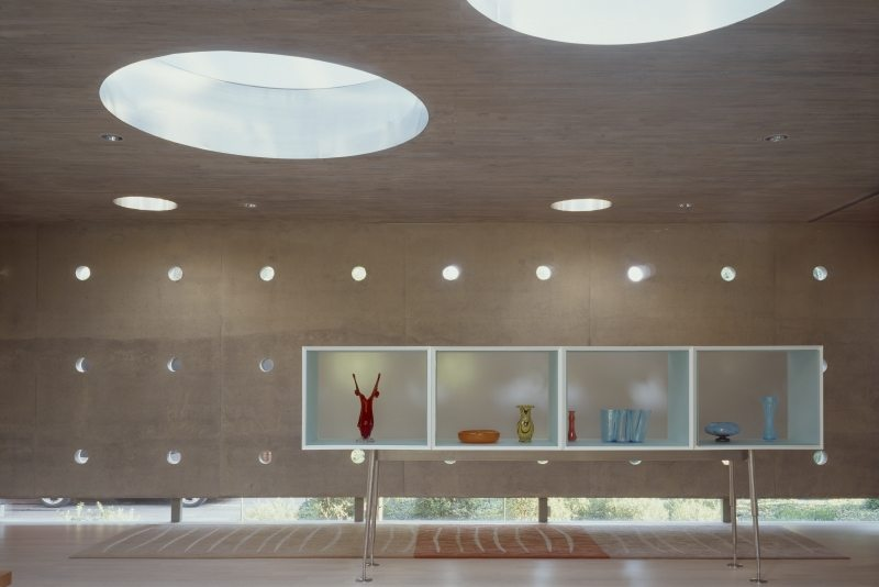 Round skylights add a contemporary vibe to the house.