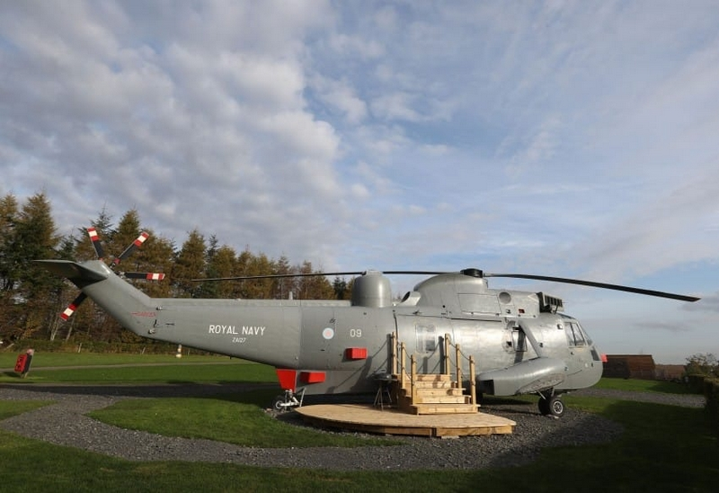 Sea King helicopter glamping accommodation