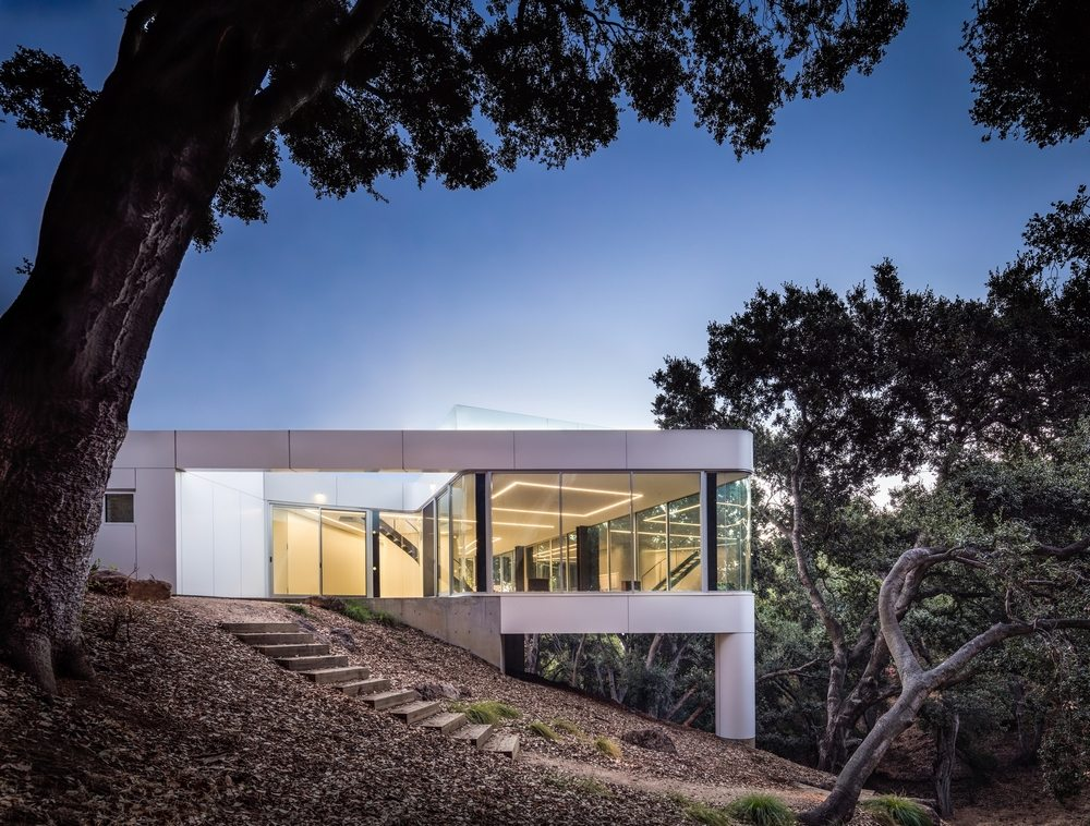 Because of its sloping site, Pam & Paul's House is supported by two trunk-like columns.
