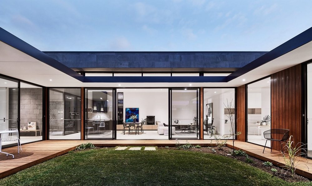 A courtyard, as the name implies, is the focal point of the house.