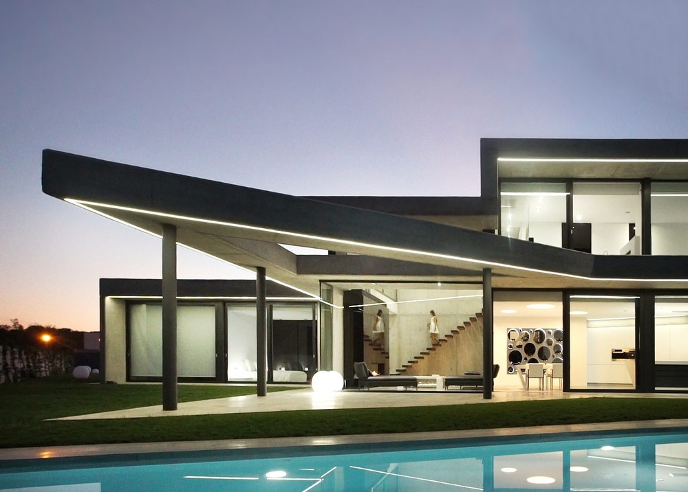 Tramuntana House is a residential structure that is modern both inside and outside.