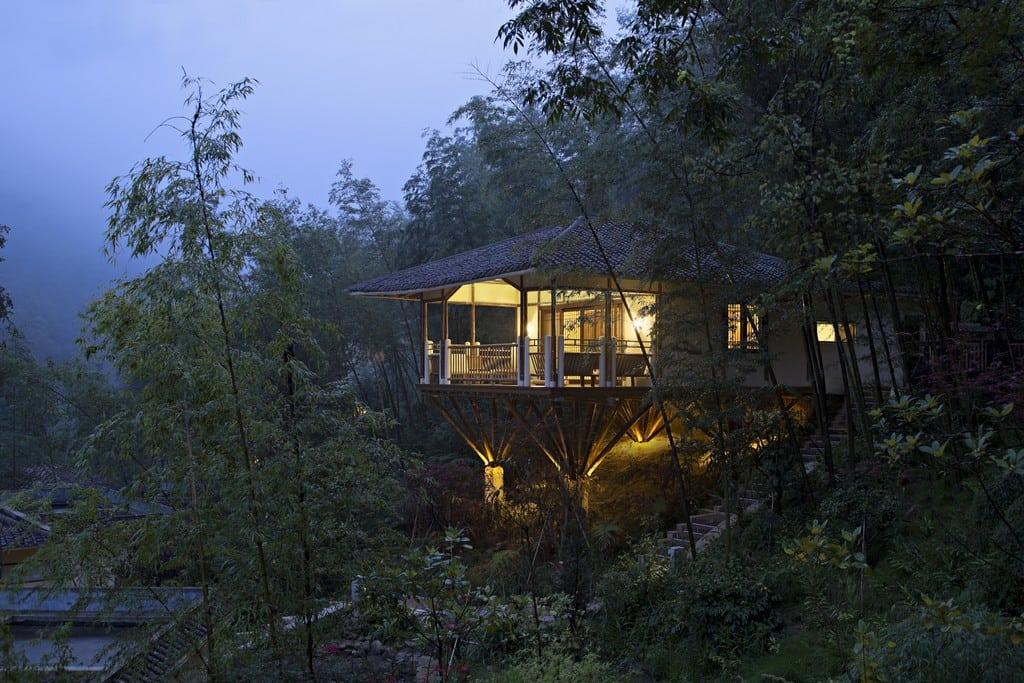 Bamboo Villa stands on stilts, supported by 32 wooden stakes.
