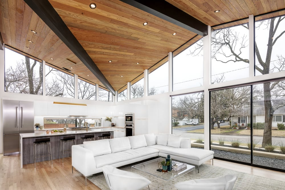 Large windows and clerestories allow plenty of natural light in.