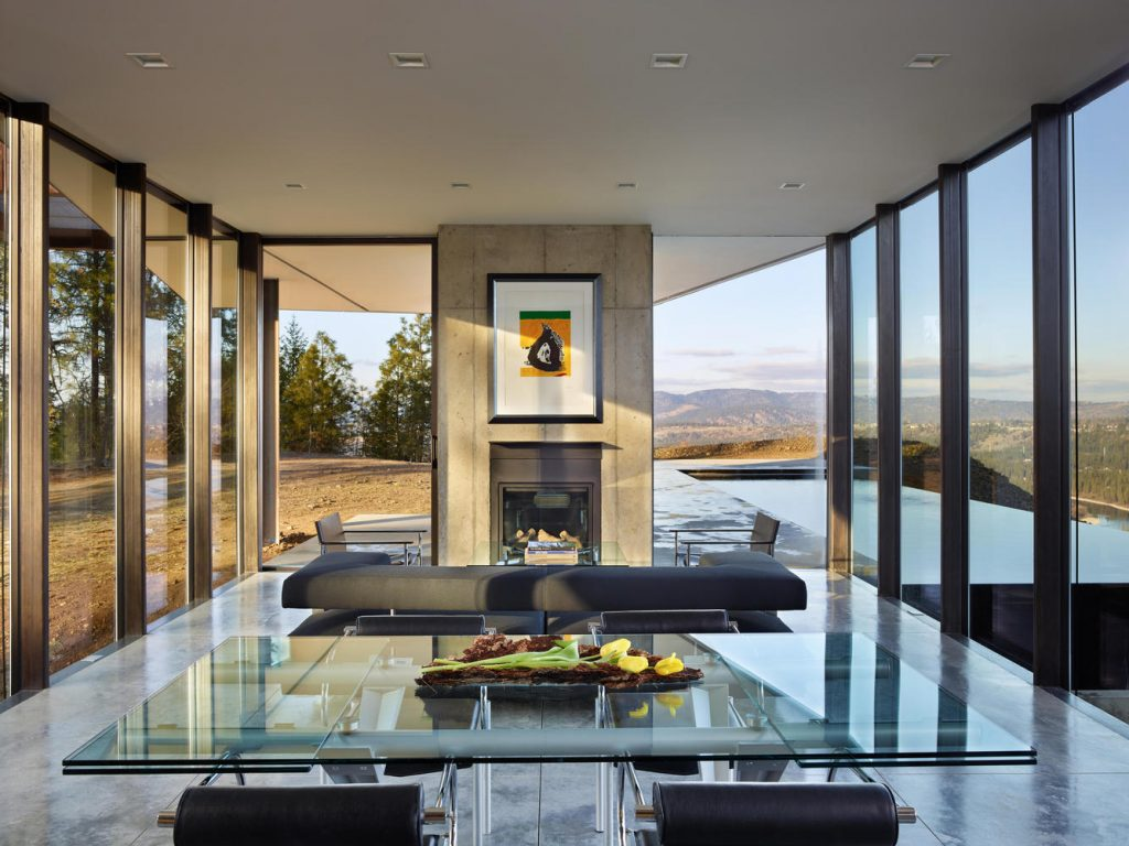 The living spaces provide 180-degree views of the surrounding landscape.